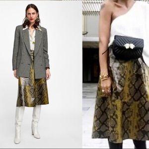 ZARA WOMAN Shiny Snake Print Skirt NWOT SZ Small